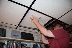 Putting cut ceiling tiles back in ceiling around recessed lighting housing Drop Ceiling Basement, Drop Ceiling Lighting, Ceiling Lights, Dropped Ceiling, Ceiling Tiles, Light Installation, Adventure, Diy, Ceiling Lighting