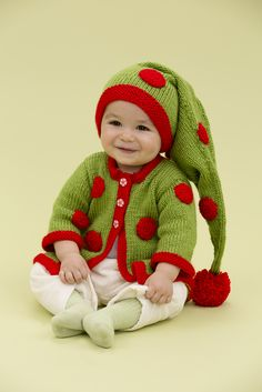 Free Knitting Pattern for Santa's Baby Elf - #ad Baby hat and sweater set. Easy pattern by Cindy Craig. Sizes 3 to 12 months tba holiday wear Christmas