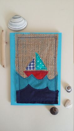 Greeting card,nautical greeting card, applique greeting card, fabric card, handmade card, happy birthday card, hello card for him, by HanmadeinCornwall on Etsy https://www.etsy.com/listing/467280032/greeting-cardnautical-greeting-card