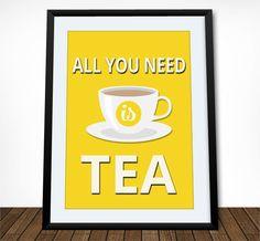 Tea Poster Kitchen Print Kitchen Decor Tea Print Kitchen Wall Art Tea Quote Tea Quote Print Retro Poster All You Need is Tea (18.00 USD) by printdesignstudio