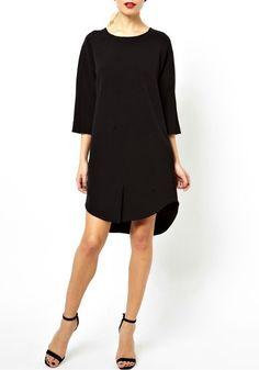 Black Plain Seven's Sleeve Short Cotton Blend Dress
