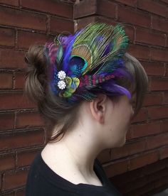 Peacock and Purple Feathers Headpiece