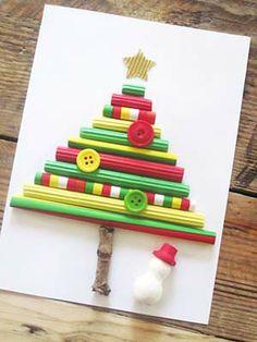 Carte Sapin de Noël Tubes papier