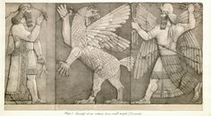 Chaos Monster and Sun God (right). Basreliefs at an entrance to a small temple (Nimroud). From Austen Henry Layard. A Second Series of the Monuments of Nineveh. London-Murray, 1853, pl. 5