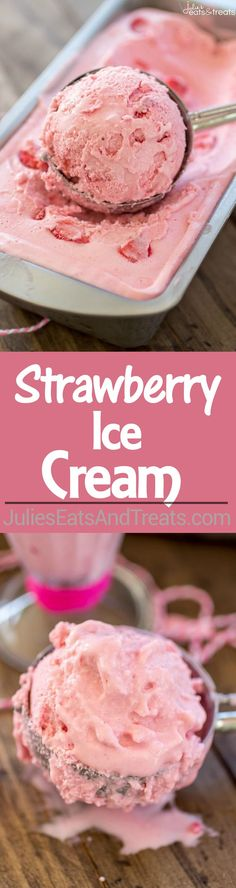 This homemade Strawberry Ice Cream with fresh strawberries! Strawberry Ice Cream Recipe – This homemade ice cream is super creamy and so fresh-tasting thanks to the use of fresh strawberries! Ice Cream Treats, Ice Cream Toppings, Ice Cream Desserts, Ice Cream Flavors, Köstliche Desserts, Ice Cream Recipes, Delicious Desserts, Dessert Recipes, Frozen Desserts