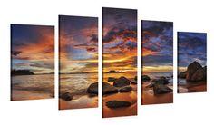 """Schilderij """"Kleurrijke Zonsondergang Over Het Eiland XXL"""" 5-delig (150x100cm) - Schilderijenspeciaalzaak.nl - De digitale print specialist van Nederland!"""
