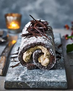 Try our white russian chocolate roulade for a Christmas dessert that will knock the socks off your guests. It's a little bit boozy and ever so decadent. 13 Desserts, Dessert Recipes, Cake Roll Recipes, Dinner Party Desserts, Health Desserts, Dinner Recipes, Christmas Desserts, Christmas Baking, Christmas Pavlova