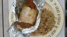 Vispakketje met groente en oosterse marinade met quinoia.