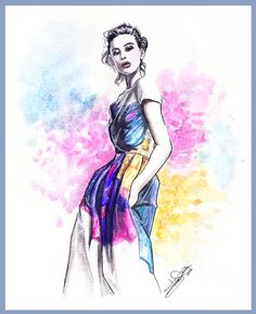 Fashion illustration done by me.  Watercolors.  2012
