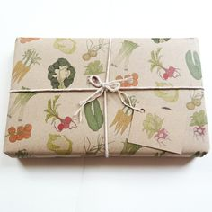 vegetables 100% recycled gift wrap set with gift tags £7.00