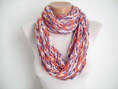 Finger Crochet Scarves | Finger Knitting Scarf Orange Purple White ... | Crochet Scarf Acces…