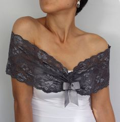 Bridal Lace Shoulder Wrap Unusual Necklace in Dark by mammamiaeme, $33.00
