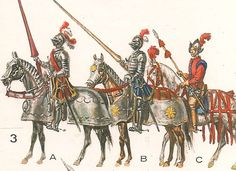 "A ""lanza "" bands of Ordinance in 1546: A. Gendarme or spear head, "" B, the Squire (optional), carrying, a hinged shell called ""anima""; C, a page."