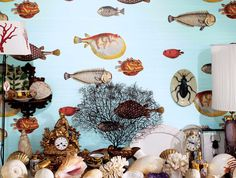 Whimsical fish wallpaper designed by Piero Fornasetti for Cole & Son in several fun colors and sizes. The famous Cole & Son puffer fish wallpaper. Flamingo Wallpaper, Fish Wallpaper, Wallpaper Decor, Wallpaper Online, Pattern Wallpaper, Coastal Wallpaper, Leaves Wallpaper, Stripe Wallpaper, Feature Wallpaper