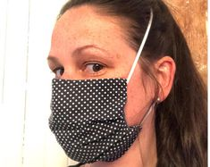 masque noir à petits pois Lisa Marie, Beauty, Protective Mask, Face, Cotton, Fabric