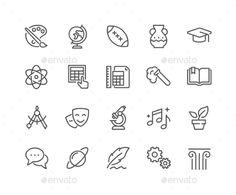 Line School Subjects Icons