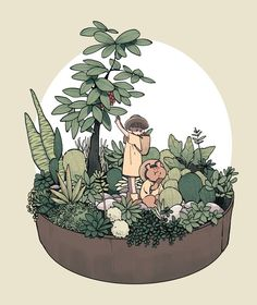 I love this cute botanical cartoon. Rich in cuteness, whimsy and nature Art And Illustration, Illustrations, Kunst Inspo, Art Inspo, Anime Kunst, Anime Art, Character Art, Character Design, Kawaii Art