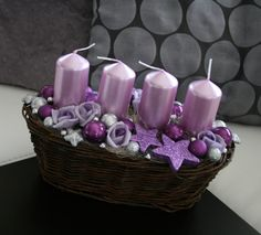 Adventní svícen fialovostříbrný / Zboží prodejce jircice | Fler.cz Christmas Colors, White Christmas, Christmas Wreaths, Christmas Crafts, Christmas Ornaments, Crafts To Do, Decor Crafts, Diy Crafts, Purple Candles