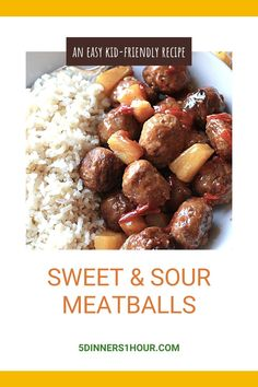 Healthy & Easy Slow Cooker Sweet & Sour Meatballs | Easy Healthy Recipes & Meals for Families - One of our most popular recipes is this slow cooker sweet & sour beef meatballs meal. It's healthy, perfect for kids & makes an easy weeknight dinner. Click through for the full recipe & learn to make these easy recipe in your crockpot! | 5 Dinners 1 Hour #slowcooker #beefrecipes #healthyrecipes #easyrecipes #quickrecipes #familyrecipes #dinnerrecipes #dinnerideas #mealideas Sweet And Sour Beef, Sweet And Sour Meatballs, Quick Recipes, Easy Healthy Recipes, Easy Weeknight Dinners, Easy Meals, Slow Cooker Recipes, Beef Recipes, New Recipes For Dinner