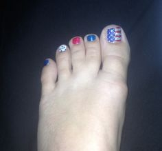 Red white and blue toe nails!!