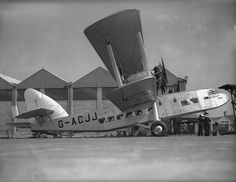 May The Imperial Airways four-engined passenger aircraft 'Scylla' at Croydon Aerodrome, south London. (Photo by Fox Photos/Getty Images) Civil Aviation, Aviation Art, Croydon Airport, Passenger Aircraft, Vintage Air, Commercial Aircraft, South London, British Airways, Silver Wings
