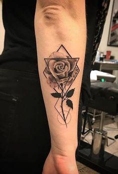 Geometric Rose Tattoo Ideas for Women - Black Floral Flower Forearm Tat - www., tattoos Geometric Rose Tattoo Ideas for Women - Black Floral Flower Forearm Tat - www. Tattoo Girls, Cute Girl Tattoos, Trendy Tattoos, Crazy Tattoos, Popular Tattoos, Rose Tattoos For Men, Tattoos For Women Half Sleeve, Rose Tattoo Man, Calf Tattoos For Women Back Of