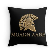 """""""Molon labe-Spartan Warrior"""" Throw Pillows by augustinet Warrior Outfit, Spartan Warrior, Molon Labe, Back To Black, Laptop Sleeves, Throw Pillows, Mugs, Gifts, Accessories"""