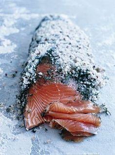 Gravlax - salt, herb, sugar encrusted goodness. You need very fresh, sushi grade salmon for this. It takes about a week plus to cure but oh my goodness, it's worth it.