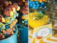 A Spongebob Squarepants Birthday Party with character cake pops, ocean water, crabby patty cupcakes, gummy fish skewers, a sill photo booth & chevron pattern! Candy Table, Candy Buffet, Dessert Table, Spongebob Birthday Party, Birthday Party Themes, Birthday Cakes, Birthday Ideas, Gummy Fish, Sea Beans