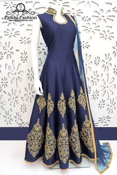 PalkhiFashion Exclusive Full Flair Navy Blue Elegant Hand Work Silk Outfit.
