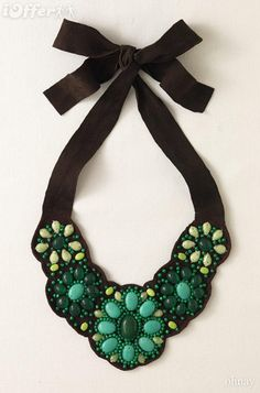 Green stone and black velvet statement necklace. #jewelry