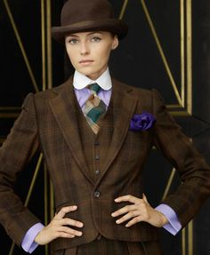 Luxurious cashmere plaid, menswear inspired suit by Ralph Lauren.  The purple accents are perfection!