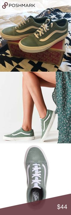 vans • olive green retro old skool Suede limited edition (sold out at Urban Outfitters where they were purchased from August 2017) Vans retro old skool low top shoe in Seaspray (listed by urban as Olive green color) and true white. Worn once (on a boat so there's a bit of white on the sole). Include original box. SUPER cute, Price is firm, if I don't get this price I'll just keep them, but you can bundle to save 25%. Old schools low tops are cuter than the sk8 high tops / slip ons I think…