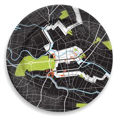 Pop. 3.4 million The plate's design portrays a bold, graphic representation of four distinctly fascinating cities. Berlin is the geographical center of Europe. The dramatic white band on the plate mar