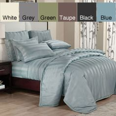 likey!!  @Overstock - Make bed more inviting with a woven down alternative comforter set. The down alternative set includes a comforter and pillow shams.http://www.overstock.com/Bedding-Bath/Peninsula-Stripe-Down-Alternative-Comforter-and-Sham-Set/6008491/product.html?CID=214117 $62.99