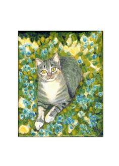 A4 print of original painting--Cat on flowers and grass (61)