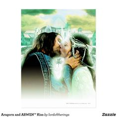 """""""ARAGORN and ARWEN™ Kiss"""" Postcard.  Aragorn is kissing her straight & Arwen is in her's Coronation Dress/Gown that we see it at the end moments of """"Return Of The King"""" (2004), the last, third episode of """"The Lord Of The Rings"""" Trilogy.. 