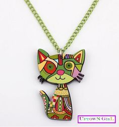 Cat necklace - Kids Jewelry - Toddler Jewelry - Green - Children Jewelry - Little girl necklace - Teen jewelry - Pre-teen gift