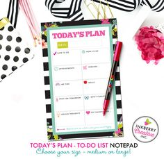 To Do List Notepad - Today's Plan - Premium Daily Planner Notepad - Black and White Striped Floral