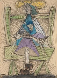 Pablo Picasso (1881-1973). Dora Maar in a Wicker Chair, 1938.