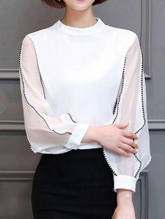Shop Tops - Long Sleeve Paneled Chiffon T-Shirt online. Discover unique designers fashion at JustFashionNow.com.