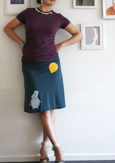 Teal Blue Knee Length Skirt . Handmade appliqué skirt . Jersey A-line skirt - Happy hippopotamos - size Small. $54.00, via Etsy.