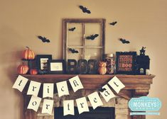 Five Easy Tips to Styling a Halloween Mantel by Three Little Monkeys Studio  Minus all the Halloween stuff, just sub fall stuff.