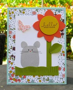 Krystal's Cards: Stampin' Up! Playful Pals Sweet Mouse #stampinup #krystals_cards #playfulpals #onlinecardclass