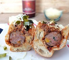 Sausage Sandwiches with Pulled Pork and Mozzarella