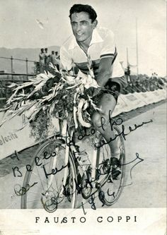 Postal dedicada de Coppi a nuestro bianchista Adolfo Bello1954 @BianchiOfficial