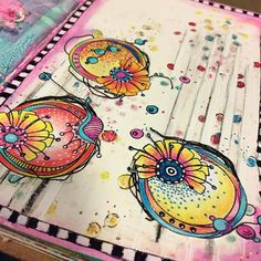 Just playing and trying something new. #carabellestudio #artstamp #prismacolorpencils #gelpens #oilpastels #distresscrayons #rangerink #dylusionsstamps #mixedmedia #artjournal
