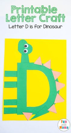 D is for Dinosaur This printable letter d craft for kids, preschoolers and toddler includes a dinosaur template art project for uppercase letter d. This is a great for your preschool letter of the week curriculum and letter crafts. Preschool Letter Crafts, Alphabet Letter Crafts, Abc Crafts, Dinosaurs Preschool, Dinosaur Activities, Preschool Projects, Letter Activities, Alphabet Book, Preschool Learning