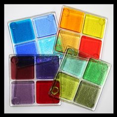 Glassworks Northwest - Mix and Match Any 4 Coasters - Set of 4 Fused Glass Coasters