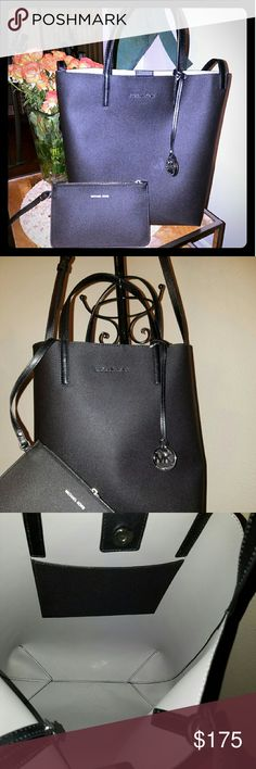 """MICHAEL KORS-BLK LTHR TOTE W/ DETACHABLE POUCH-NWT This bag is really gorgeous. It has shoulder strapd and long strap. Silver hardware, with a detachable pouch as shown. Great for work or travel. Comes w/ dust bag. Measures 15"""" x 13"""". NWT Michael Kors Bags Totes"""